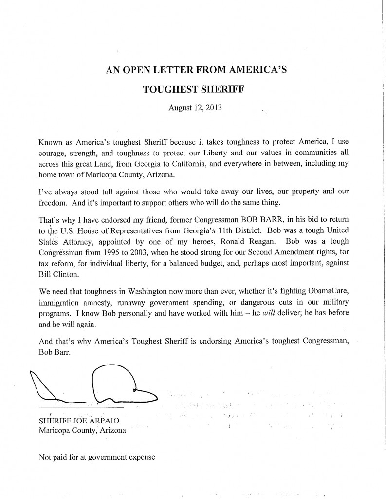 Sheriff Arpaio Endorsement