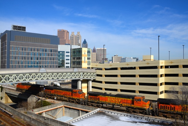 BNSF Locomotives near Georgia Capitol
