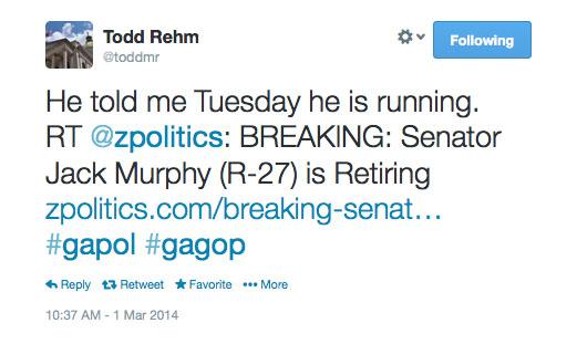 Murphy Not Retiring Toddmr