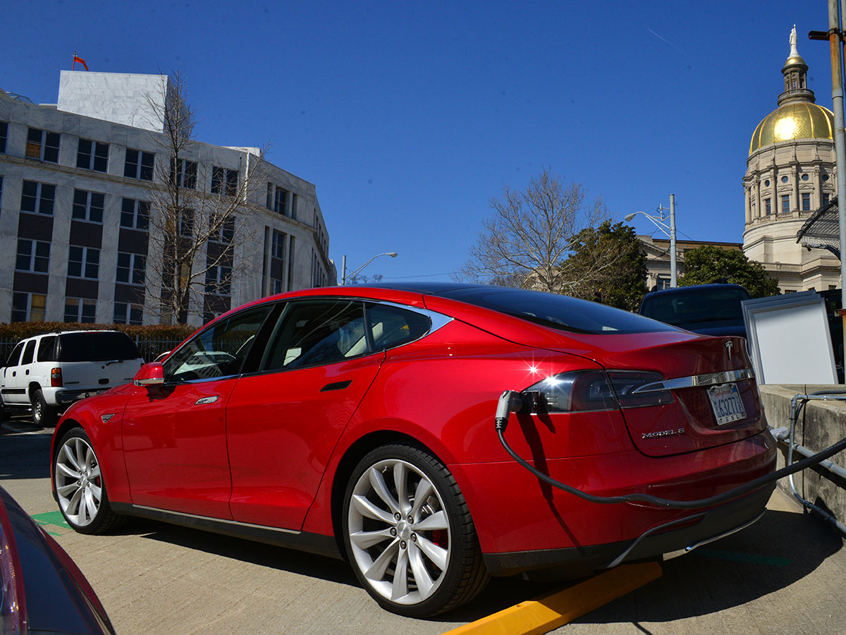 Georgia Politics Tesla Model S at Georgia Capitol