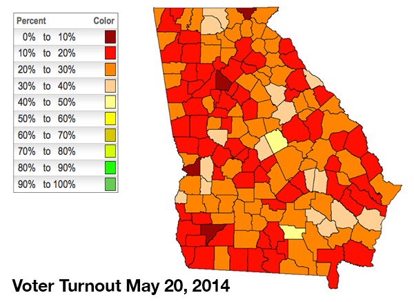 Georgia 2014 Turnout Map