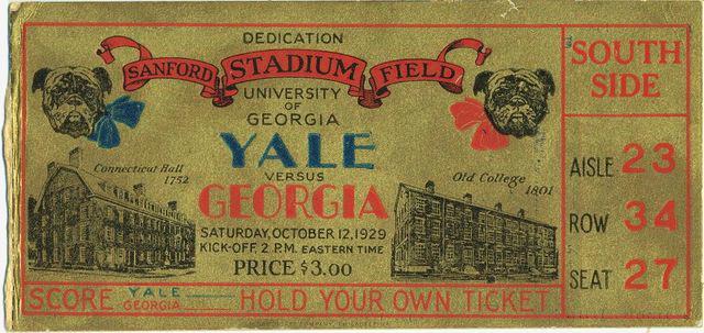 1929 UGA vs Yale Tix