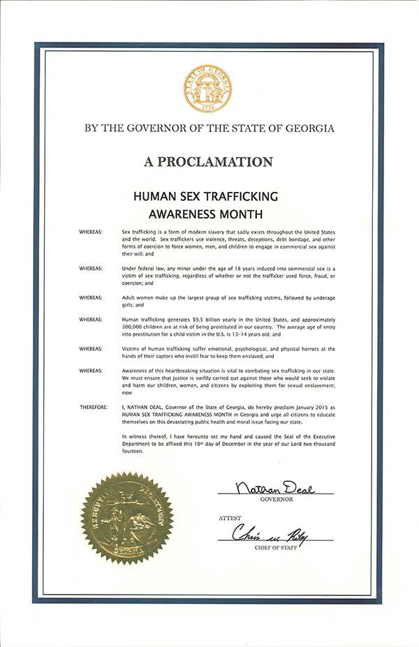 Human Sex Trafficking Awareness Month 2015