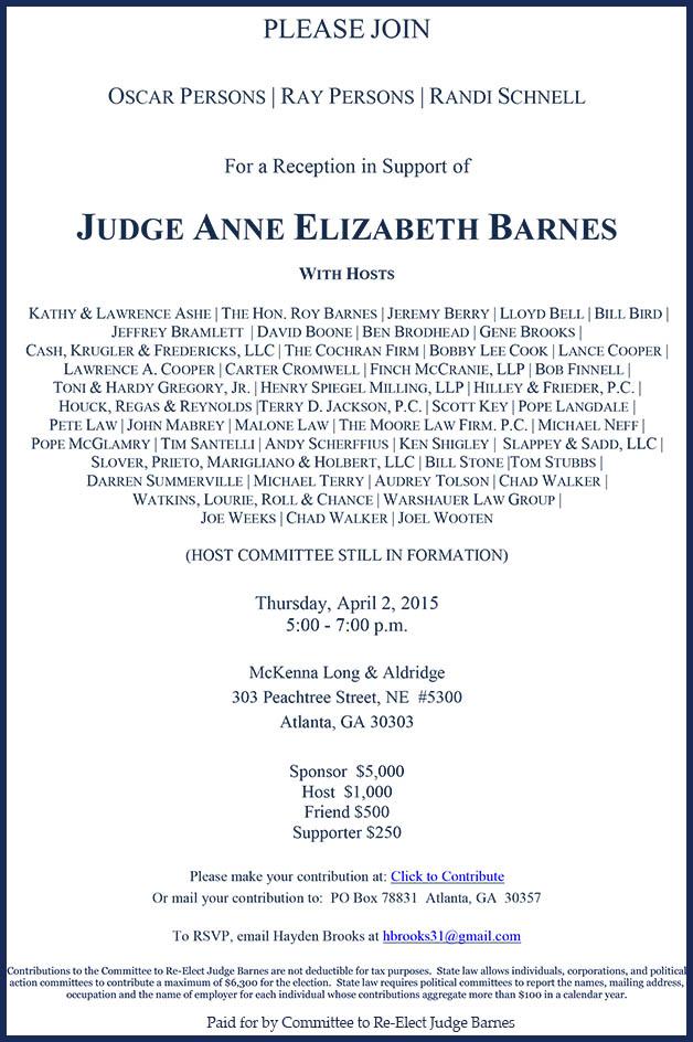 Judge Barnes Fundraiser Invite