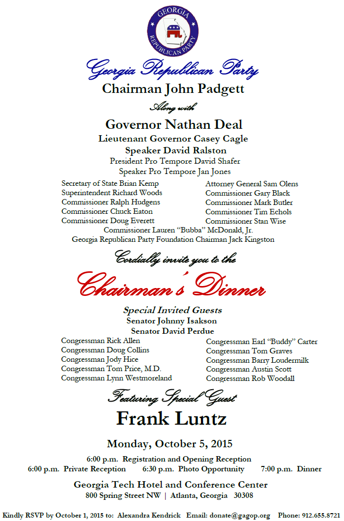 GAGOP Chairmans Dinner