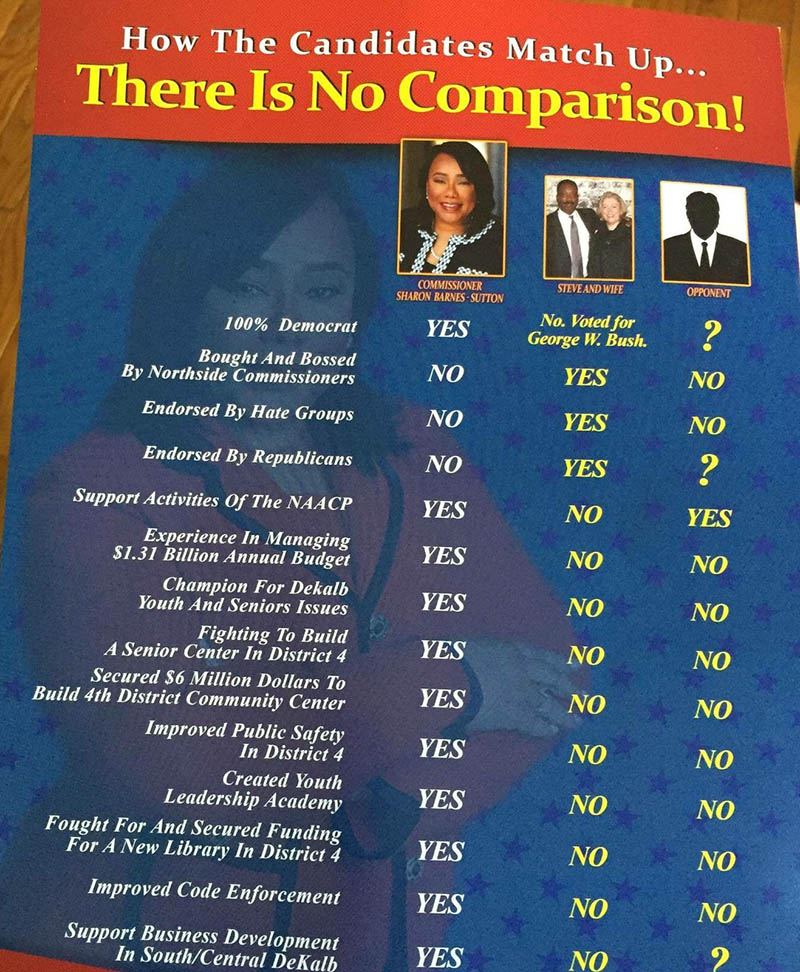 Sharon Barnes Sutton Comparison Mailer