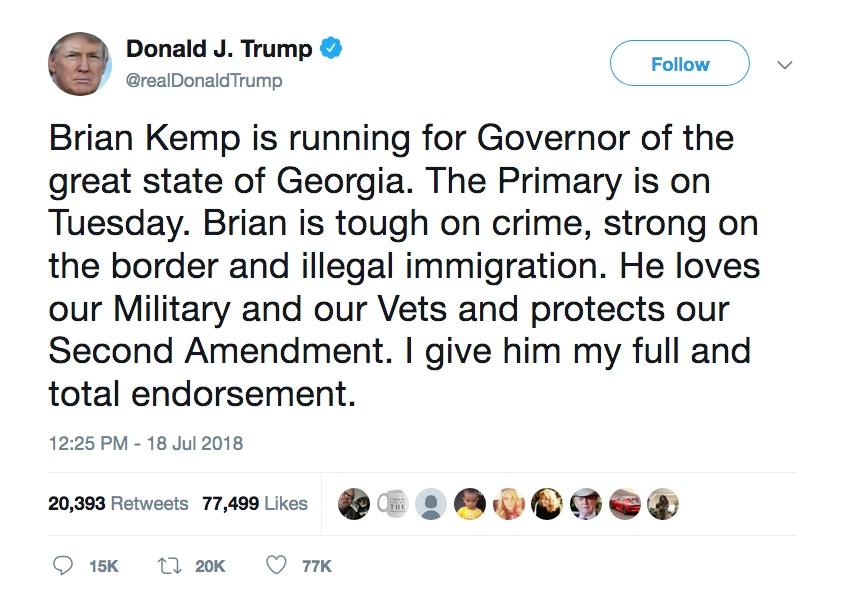 Trump Tweet Kemp