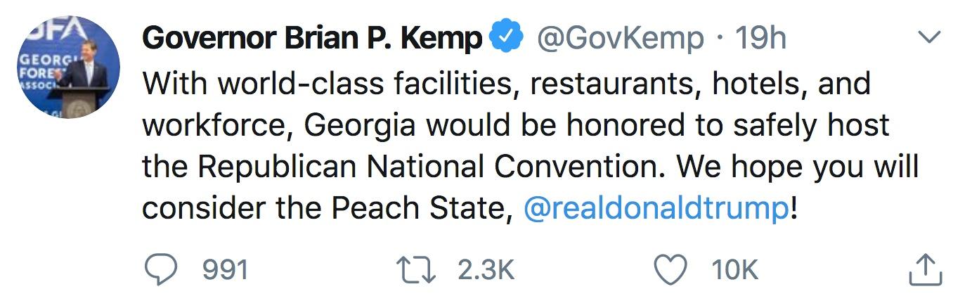 Gov Brian Kemp Twitter RNC