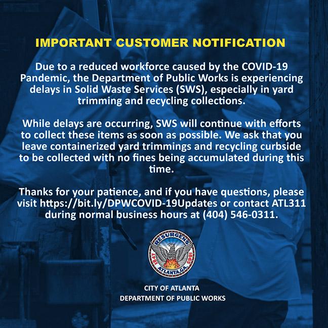 Atlanta Public Works COVID shutdown