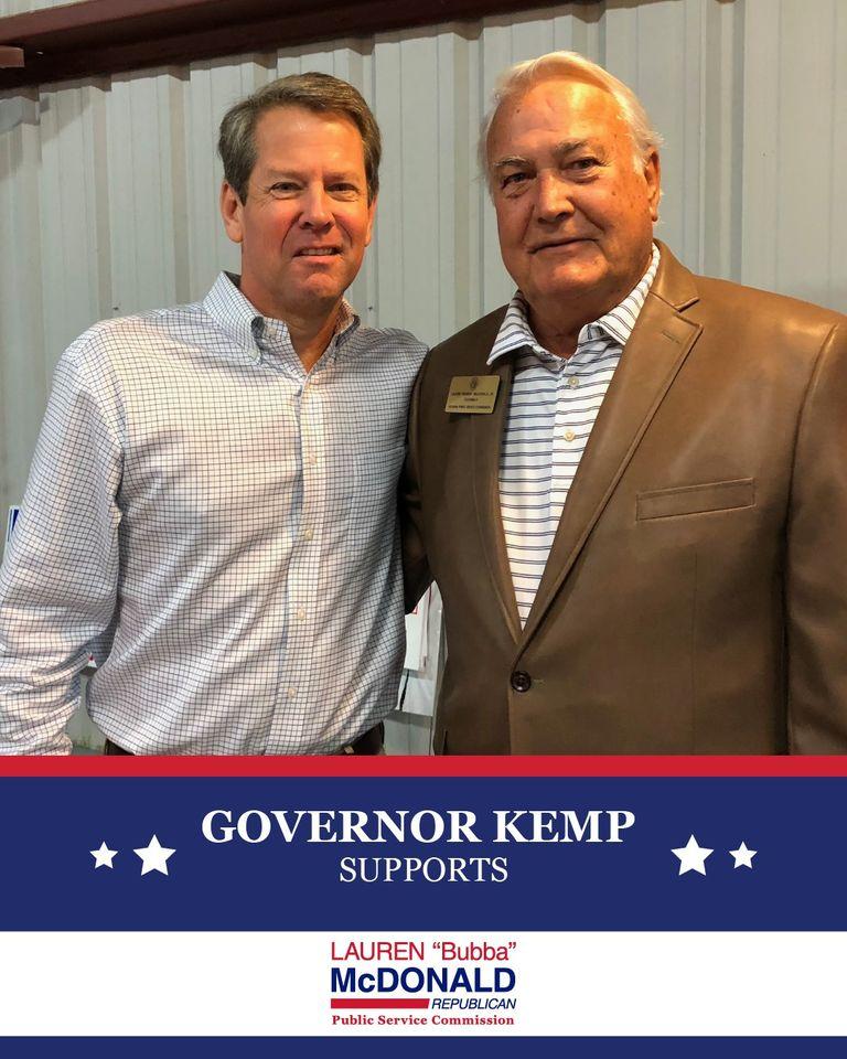 Governor Kemp endorses Bubba McDonald